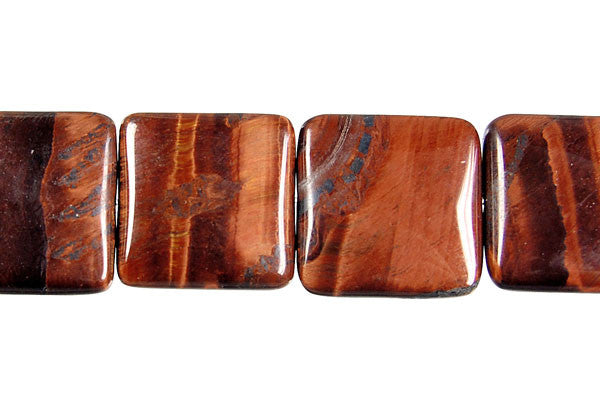 Red Tiger Eye Square Beads