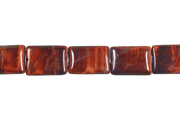 Red Tiger Eye Flat Rectangle Beads
