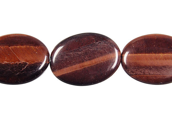 Red Tiger Eye Flat Oval Beads
