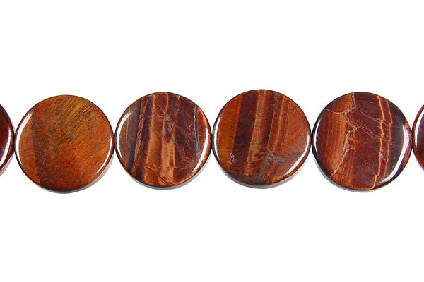 Red Tiger Eye Coin Beads
