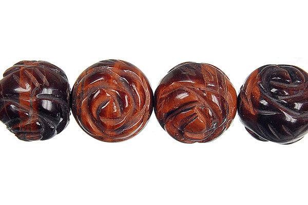 Red Tiger Eye Carved Rose (Round) Beads
