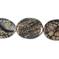 Fire Agate (Black) Flat Oval Beads