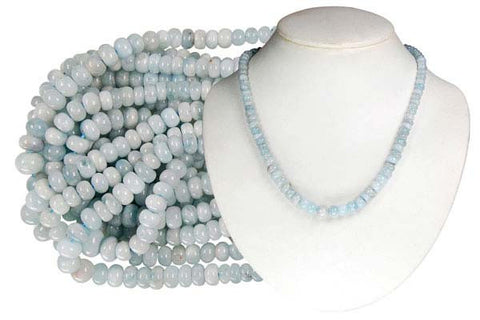 Aquamarine Graduated Rondelle Beads