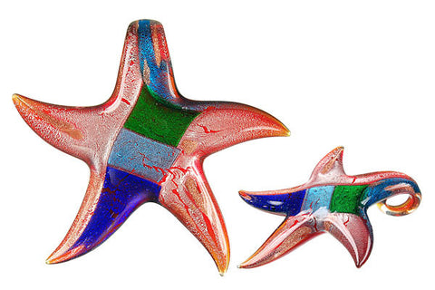 Pendant Murano Foil Glass Star (S08)
