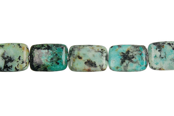 African Turquoise Flat Rectangle Beads