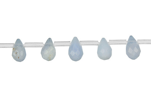 Blue Chalcedony Faceted Briolette Beads