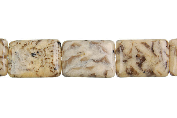 Silkworm Jasper Flat Rectangle Beads