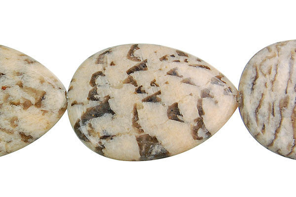 Silkworm Jasper Flat Briolette (Vertical Drilled) Beads