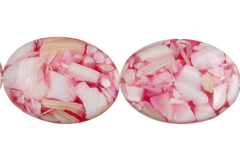 Shell (Red & White) Flat Oval Beads