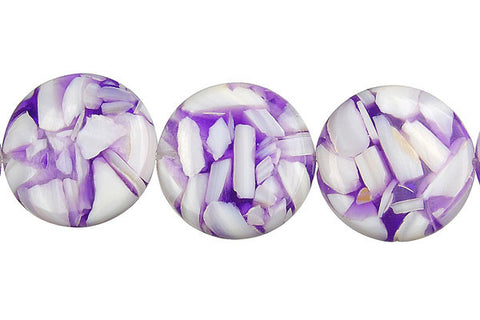 Shell (Purple & White) Coin Beads