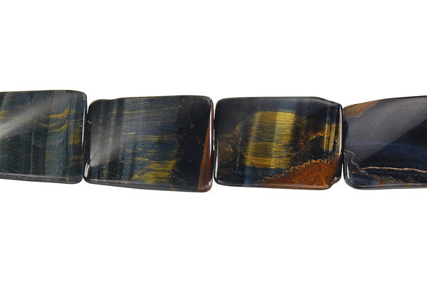 Blue Tiger Eye Twisted Rectangle Beads