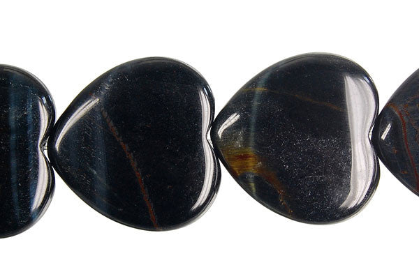Blue Tiger Eye Heart Beads