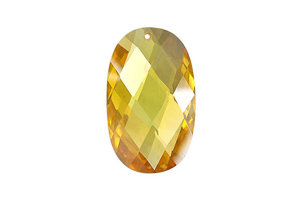 Pendant Cubic Zirconia Faceted Flat Oval (Yellow)