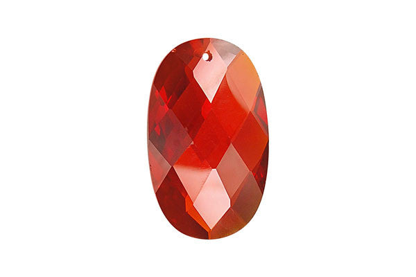 Pendant Cubic Zirconia Faceted Flat Oval (Ruby)