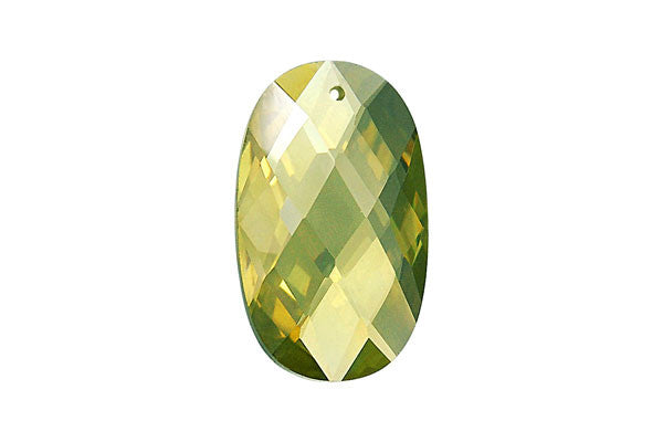 Pendant Cubic Zirconia Faceted Flat Oval (Olivine)