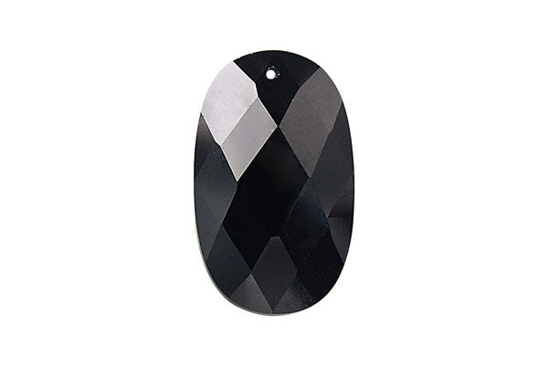 Pendant Cubic Zirconia Faceted Flat Oval (Black)