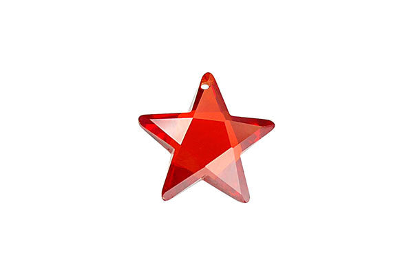 Pendant Cubic Zirconia Faceted Star (Red)