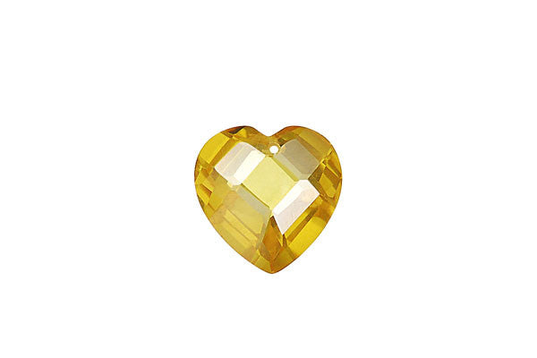 Pendant Cubic Zirconia Faceted Flat Heart (Yellow)