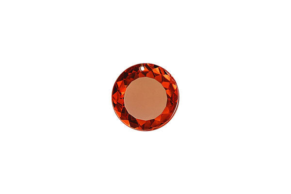 Pendant Cubic Zirconia Faceted Coin (Garnet Red)