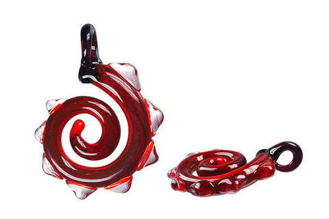 Pendant Murano Foil Glass Dinosaur Tail (Red)