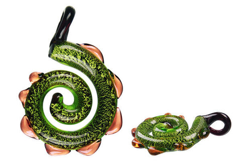 Pendant Murano Foil Glass Dinosaur Tail (Green)