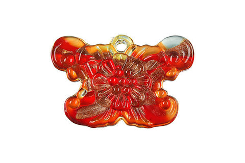 Pendant Murano Foil Glass Butterfly (Red)