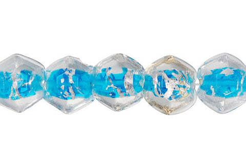 Lines Foil Glass Super Faceted Nugget (Blue)