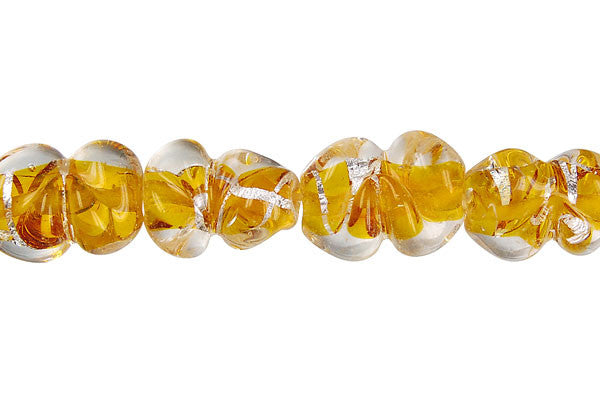 Lines Foil Glass Peanut (Yellow)
