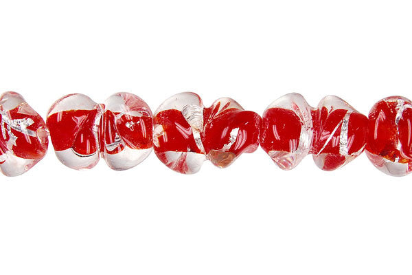 Lines Foil Glass Peanut (Red)