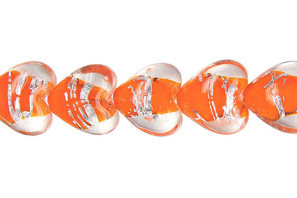 Lines Foil Glass Heart (Orange)