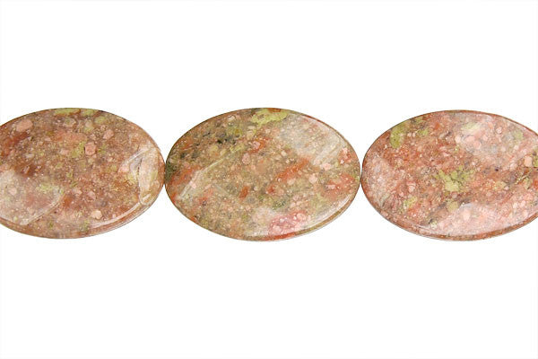 Unakite Faceted Flat Oval Beads