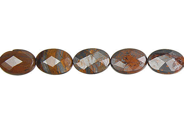 Tiger Iron (AAA) Faceted Flat Oval Beads