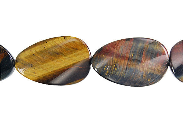 Tiger Eye (Yellow and Blue) Twisted Flat Oval Beads
