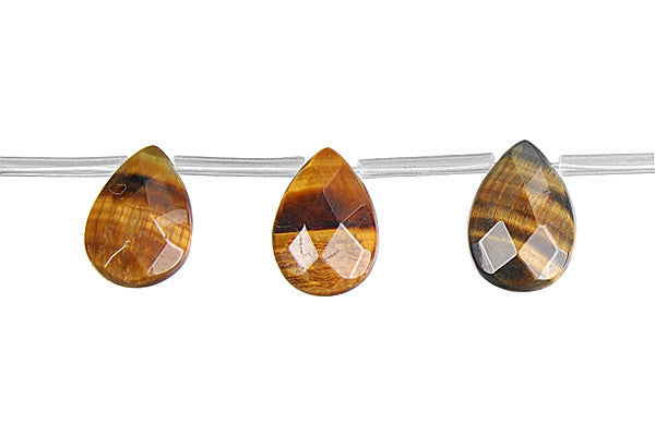 Tiger Eye (Yellow and Blue) Faceted Flat Briolette Beads