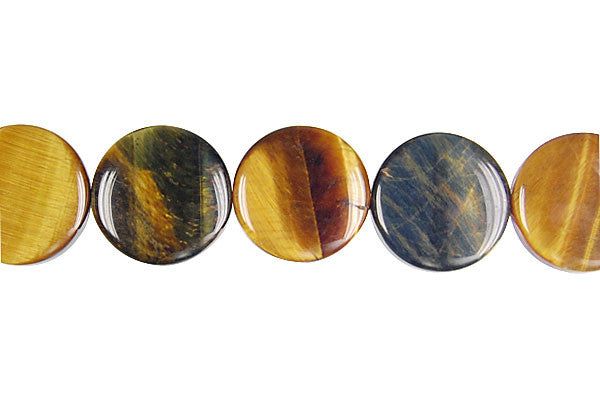 Tiger Eye (Yellow and Blue) Coin Beads
