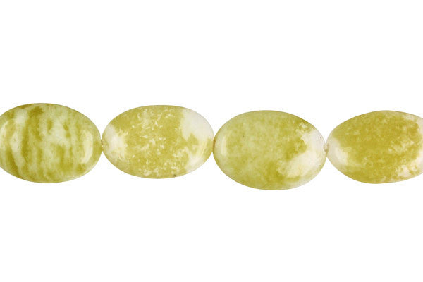 Lemon Jade Flat Oval Beads