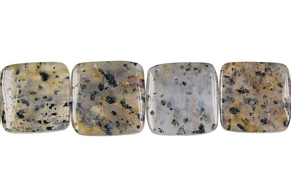 Sesame Rock Crystal Square Beads