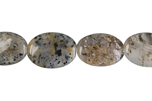 Sesame Rock Crystal Flat Oval Beads
