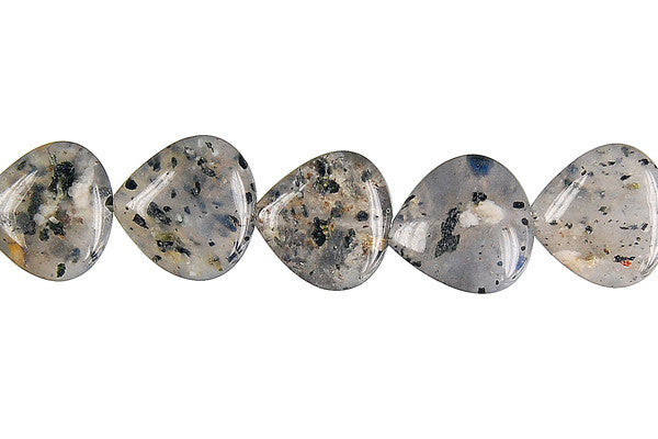 Sesame Rock Crystal Flat Heart Briolette (Vertical Drilled) Beads