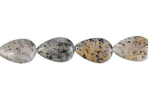 Sesame Rock Crystal Flat Briolette (Vertical Drilled) Beads