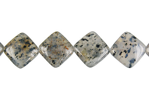 Sesame Rock Crystal Diamond Square Beads