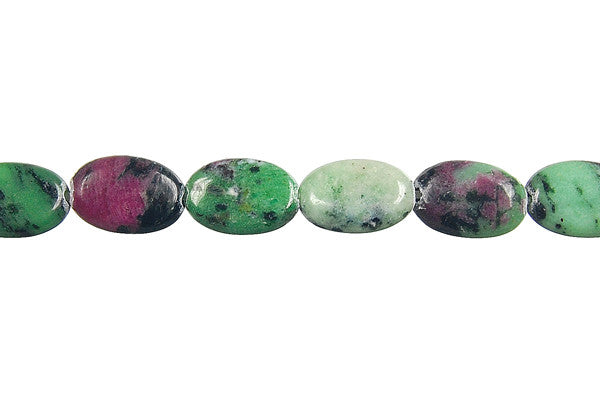 Ruby Zoisite Flat Oval Beads
