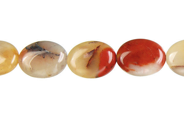 Oregon Picture Jasper Flat Oval Beads