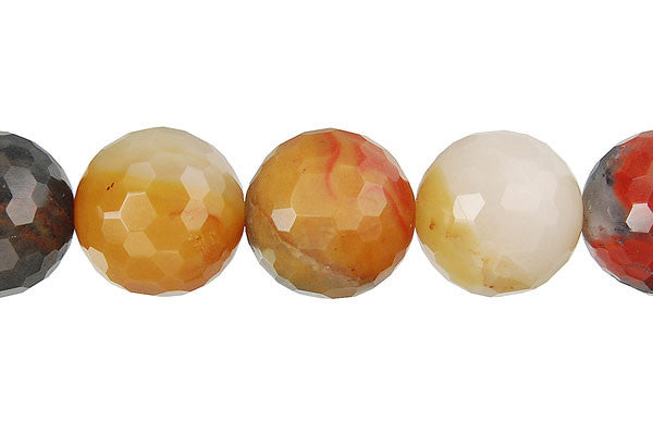 Oregon Picture Jasper Faceted Round Beads