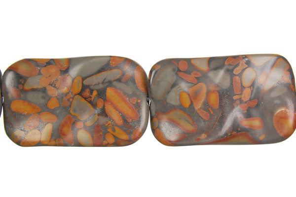 Golden Jasper Wavy Rectangle Beads