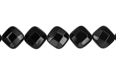 Black Onyx (AAA) Faceted Diamond Square Beads