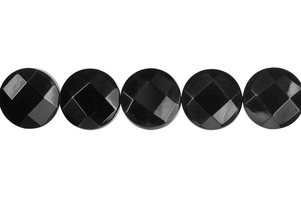 Black Onyx (AAA) Faceted Coin Beads