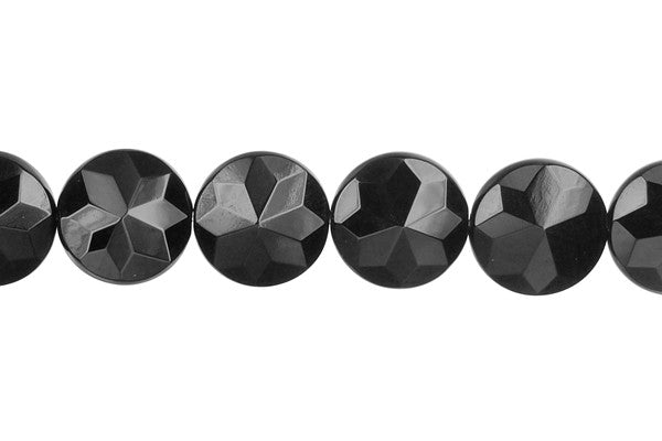 Black Onyx (AAA) Faceted Coin (Flower Shape) Beads