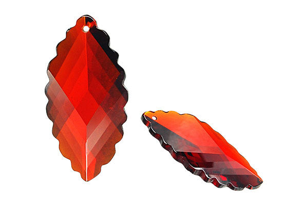 Pendant Cubic Zirconia Faceted Leaf (Garnet)
