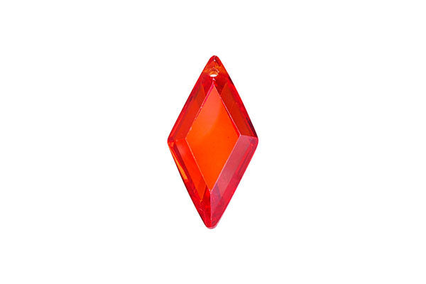 Pendant Cubic Zirconia Faceted Diamond (Orange Red)